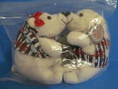 1998 Coca Cola PLUSH POLAR KISSING BEARS - MINT- BRAND NEW - Factory Sealed!