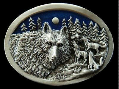 Howling Wolf Wolves Wildlife Canada Moon Pewter Belt Buckle Boucle De Ceinture