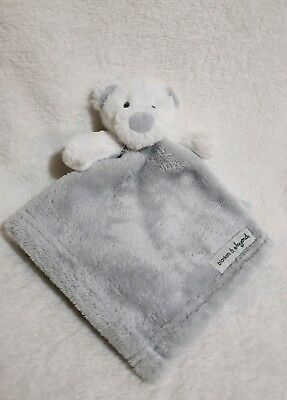 """Blankets & Beyond white bear with gray LOVEY Security Blanket  14""""x14"""""""