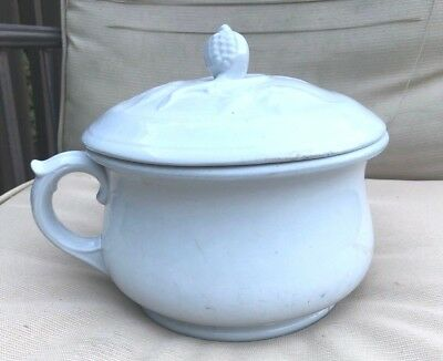 Vintage T&R Boote England white ironstone chamber pot corn handle lid Mocho