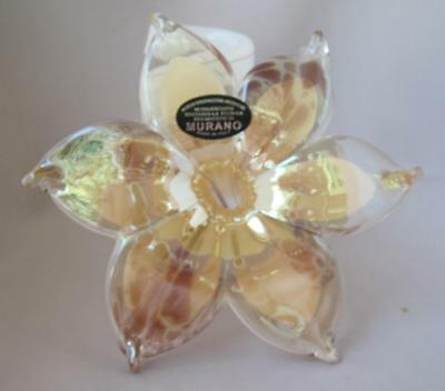 Hand Made Murano Glass Amber Plum Beige 6 Leaf Flower twisted stem Italy No 240