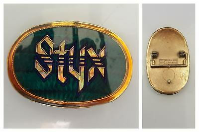 STYX Pacifica MFG 1977 Retro Vintage Green And Gold Belt Buckle