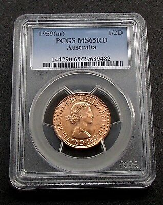 1959 Australia 1/2d Half Penny Coin - PCGS Graded MS65RD - Full Mint RED