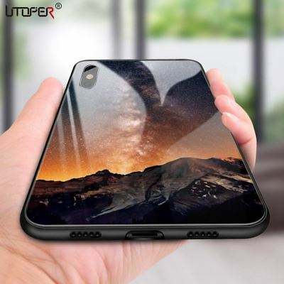 Starry Sky Tempered Glass Case For iPhone 7 8 Plus Case Luxury Star Space Cover