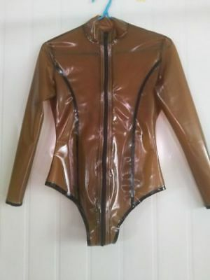 Latex Catsuit 100% Rubber Sexy Coffee Sports  Suit Bodysuit Size S-XXL