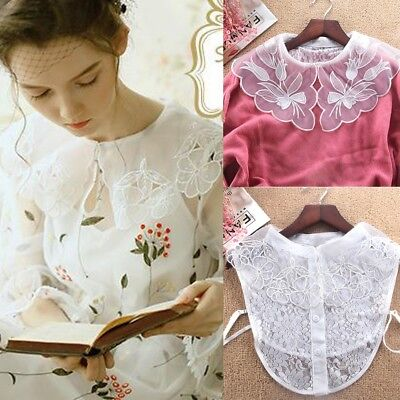 Women Lace Floral New Blouse False Collar Clothes Shirt Detachable Collars New