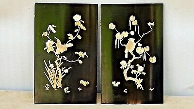 Pair Antique Japanese Bovine Bone& Mop Inlayed Black Lacquered Hanging Panels