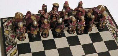 Ceramic Chess Set Spanish and South America Figures Hand painted
