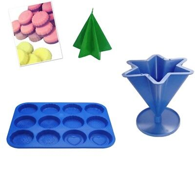 Set x 2 Star Candle Mould with Base & Wax Melt Tart Tray, Swirl, Heart etc S7758
