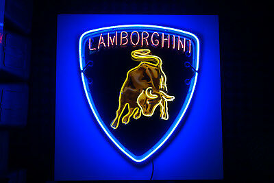 "LAMBORGHINI DEALERSHIP NEON. CUSTOM Steel Enamel neon ART . HUGE 47"" TALL!"