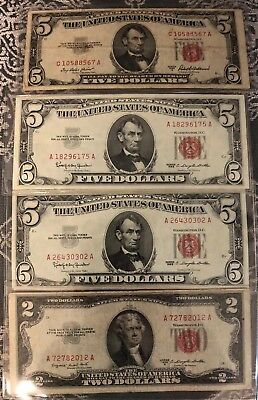 A 1953 $5 Five & $2 Dollar Red Seal Small Size US Legal  Note Bill Paper Money