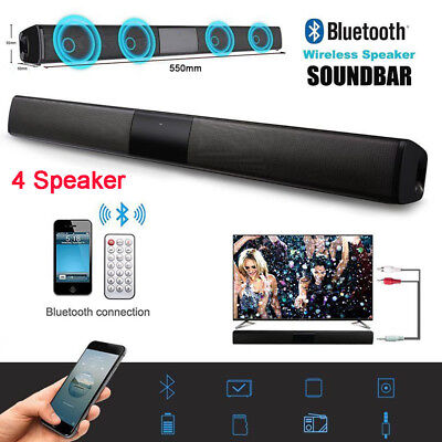 Wireless Bluetooth TV Soundbar 4 Speaker 3D Sound Bar Home Theater Subwoofer RCA