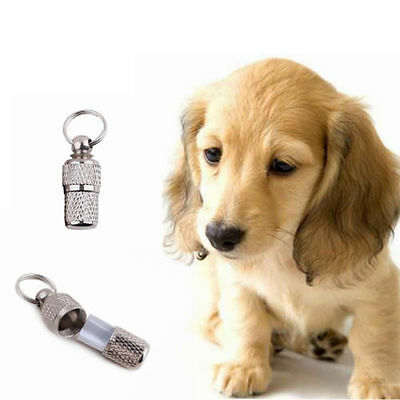 2x Anti-Lost Pet Dog Cat ID Stainless Steel Tag Name Address Barrel Tube  LC