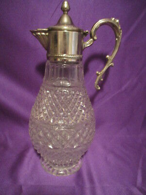 Vintage Wexford Glass Carafe/Decanter w/Flip Top Lid Diamond Point