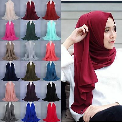 New Women Plain Bubble Chiffon Solid Color Shawl Hijab Muslim Turban Scarf