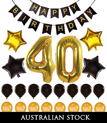 40th Birthday Decorations Giant Party Gold Foil Balloons Props Happy Banner