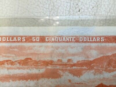 1954 Bank Of Canada $50 Dollar Modified Note, Circulated Condition, Lot#1