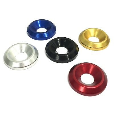 4mm 5mm 6mm 8mm COUNTERSUNK Washers - ANODISED ALUMINIUM - Fairing Bike Alloy