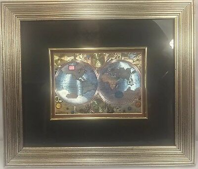 Double Hemisphere World Map in Foil Double Matted Framed Unmarked