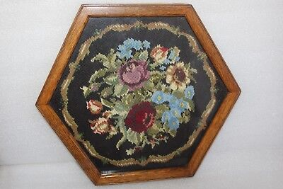 Victorian Needle Point Woolwork Floral Picture In Hexagonal Wooden Frame