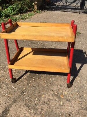 Vintage 2 tier trolley on wheels - possibly kids room, ideal 4 kids books 1950s