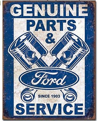 """Ford Parts & Service Metal Tin Sign 12.5"""" X 16"""" New"""