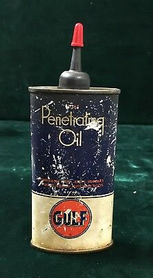 Vintage Gulf Penetrating Oil can  - Free Shipping!