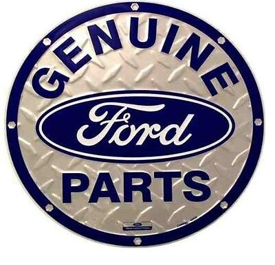 FORD GENUINE PARTS Round Diamond Plate Tin Sign Garage Shop Metal Signs