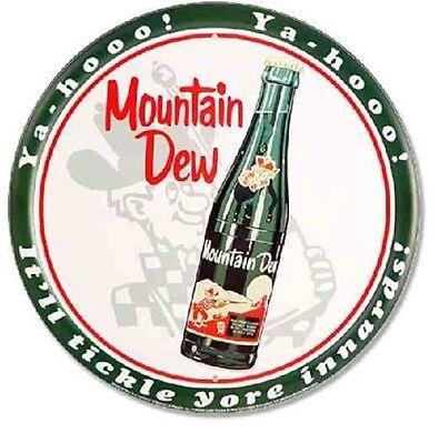 "Mountain Dew Sign Bottle 12"" Round Tin YaHoo Vintage Advertising Metal Pop Soda"