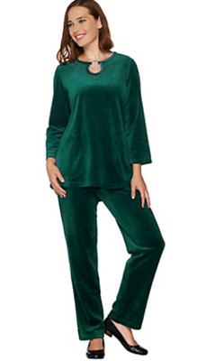 Nwt Quacker Factory Keyhole Velour Tunic And Pants Set, Evergreen, (Sizes)