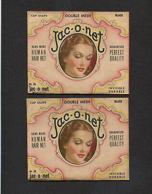 Lot of 2 Packages Vintage Jac-o-net Human Hairnets With Picture of Lady
