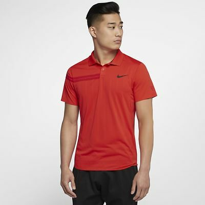 Nike Mens Zonal Cooling RF Advantage Tennis Polo Habanero Red - Large