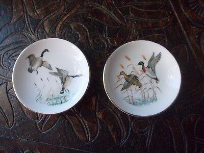 VINTAGE CROWN STAFFORDSHIRE SMALL PIN PLATES 9cm dia. DUCKS & GEESE