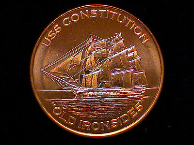 1 oz Copper Round - OLD IRONSIDES - USS CONSTITUTION - Sailing Ship  #43