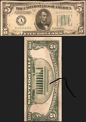 Series  A of 1934 $5 Five Dollar Silver Certificate Note Old US Currency