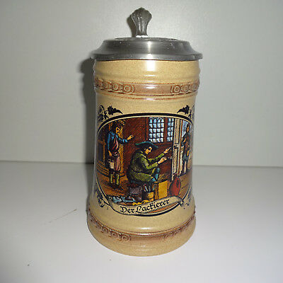"""Beer Mug Stein Stoneware 0,5 L with Tin Lid """" the Painters """" Beer"""