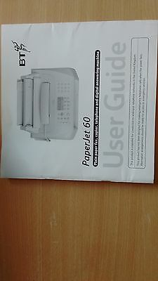 BT Paperjet 60 User guide fax copier telephone answering machine