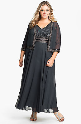 J KARA EMBELLISHED Chiffon Gown & Jacket MOTHER OF BRIDE ...