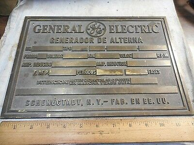 Vintage GE GENERAL ELECTRIC Heavy Brass Industrial Motor Plate/Sign/Plaque NOS