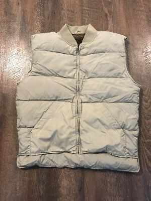 Vintage Eddie Bauer Khaki Quilted Down Zip Vest Men's Medium