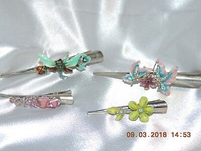 Vintage Set of 4 Hair Clips w/ Lovely Enamel Decoration & colored stones