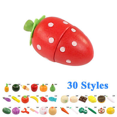 Wooden Pretend Fruits Vegetable Cutting Food Toys Magnetic Kitchen for Children