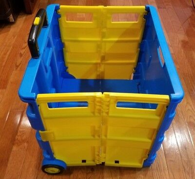 Plastic Rolling Crate Blue and Yellow
