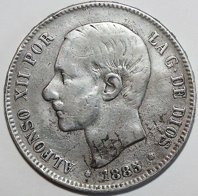 1885 MS M Spain 5 Pesetas Silver Crown Coin (25 grams)