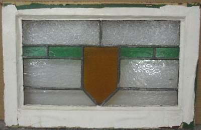 "OLD ENGLISH LEADED STAINED GLASS WINDOW Nice Simple Band & Shield 21.25"" x 14"""