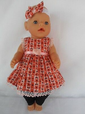 Handmade dolls clothes (Dress Leggings Headband) fit 40-43cm 17in,Baby Born doll