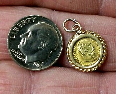 1865 & 14k BEZEL MEXICO TINY REAL GOLD! WEDDING LOVE TOKEN PENDANT OR CHARM L@@K