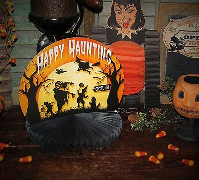 Primitive Antique Vtg Style Retro Halloween Witch Moon Paper Honeycomb Rosette