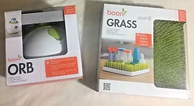 LOT Boon Orb Bottle Warmer & Boon Grass Countertop Drying Rack for Baby Bottles