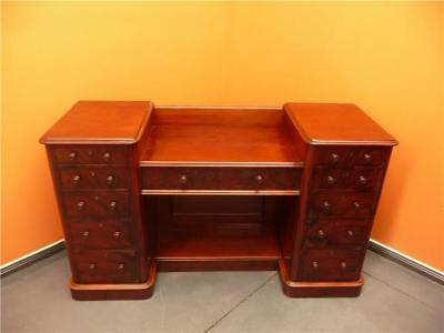 antique Mahogany and Cedar Hall Table Desk. *Eleven graduated dovetailed drawers